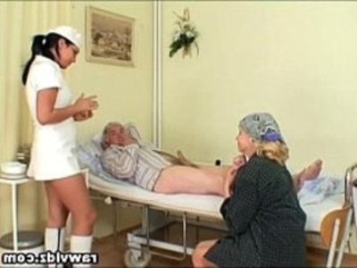 Naughty Hot Nurse Helps Old Patient To Get Laid | 3some  blowjob  cumshots  hardcore  mature  naughty girls  nurse  old and young  public sex