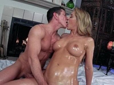 Sensual Suite Cherie DeVille Laz Fyre Passionate Oiled Sex | big booty  blonde  blowjob  massage  milf  oil  orgasm  perfect girls