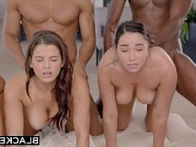 BLACKED Abella, Karlee and Keisha Stretched Out By Two BBCs | big booty   big tits   black cock   blowjob   brunette   cowgirls   doggy   facials   group sex   huge cocks