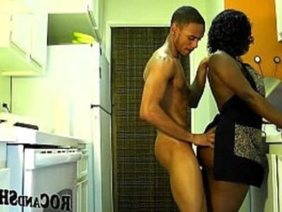 Kitchen Fuck | ass   big booty   black   blowjob   butt   couple   cumshots   ebony   girlfriend   housewife
