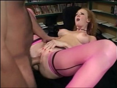 Redhead has sex in pink stockings and heels | redhead  stockings