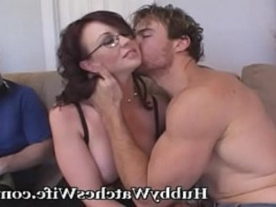 Wife Shows Hubby Is A Sissy | big tits  blowjob  brunette  cuckold  doggy  hubby  pussy  sharing girlfriends  swingers  tits