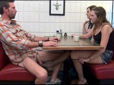 Daughter gives Footjob and BJ to Dad Under Table | blowjob   daddy   daughter   father   fetish   footjob   handjob   spandex   stockings