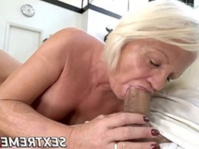 Kinky Anett has pussy with young dick after BJ | blonde  blowjob  cumshots  dick  doggy  gilf  grandma  kinky  mature  old and young