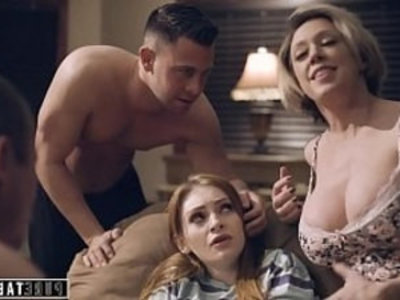PURE TABOO Step Parents Step Bro Welcome New Sister to Perv Family | 4some   cowgirls   family taboo   hardcore   milf   penetration   redhead   shaved pussy   sister   son and mom