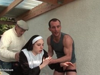 Young french nun fucked hard in threesome with Papy Voyeur | 3some   amateur   brunette   european girls   french girls   hardcore   outdoor   young