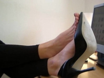 High heels and bare feet at Agas office | high heels   office