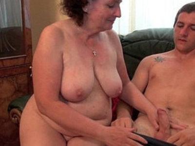 Voluptuous grandma rides cock on the couch | cock  couch  gilf  grandma  riding cock