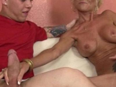 Tattooed granny tugging long mamba cock | cock  gilf  tattoo