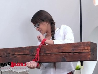 Submissive schoolgirl cindy loarn pees while dominated, spanked and fucked hardcore | anal  ass worship  brunette  deepthroat  domination  gaping  hardcore  pissing  rough sex  school girls