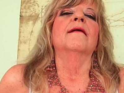 Grandmother with breasts pushes huge anal dildo inside   breasts  dildo  grandma