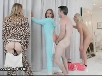 Slumber party turns to foursome fucky sucky | 4some  party