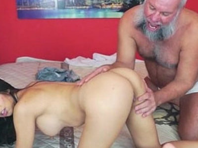 Mexican Frida Sante enjoys to suck and ride on an old cock | cock  cock sucking  mexican girls  old and young  riding cock  young