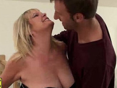 Blonde housewife with leather outfit gets her pussy drilled roughly | blonde  drilling  housewife  leather  rough sex