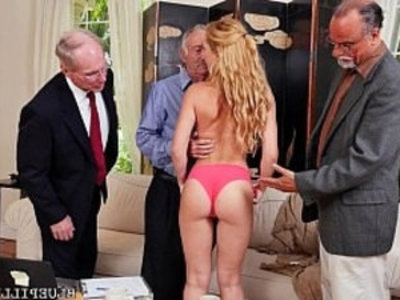 Frankie And The Gang Tag Team Door To Door Saleswoman, Raylin Ann   blonde  cute petite  grandpa  group sex  hardcore  old and young  orgy party