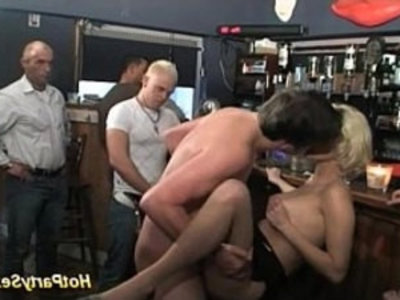 gangbang at the cocktail bar | 3some  blonde  bukkake  college  gangbang  group sex  orgy party  party